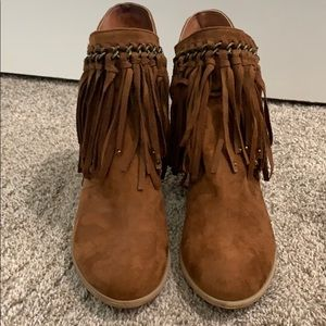 Not Rated Brown Fringe Booties.